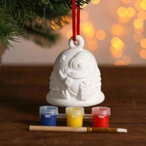 Набор колокольчик под раскраску «Пингвин» краска 3 цв по 2 мл, кисть