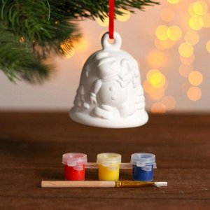 Набор колокольчик под раскраску «Снеговик» краска 3 цв по 2 мл, кисть