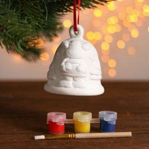 Набор колокольчик под раскраску «Олень» краска 3 цв по 2 мл, кисть