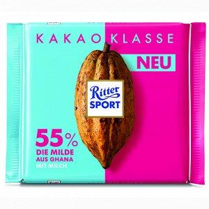 Шоколад Риттер Спорт молочный из Ганы