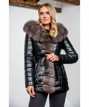 Зимняя куртка из экокожи с мехом Артикул: R-577-2-75-CH-P