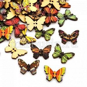 Пуговицы Деревянные Окрашеные, 2-отверстия, Бабочки, Цвет: Микс, Размер: 24.5x17x2мм, Отв-тие: 1мм, (УТ100009605)