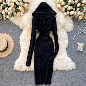 Вязановое вязаное платье с капюшоном, V-образным вырезом черное