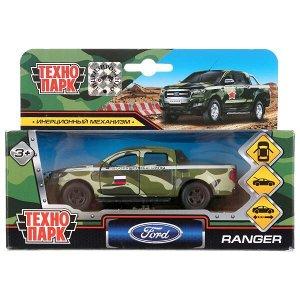 SB-18-09-FR-M-WB Машина металл ranger пикап военный 12см, откр.двери и багажник, инерц. в кор. Технопарк в кор.2*24шт