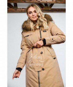 Пальто с мехом на экопухеАртикул: 826-2-110-BG-EN