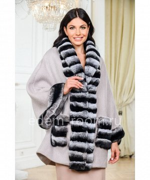 Вязаное пальто - кардиган с мехом кроликаАртикул: 213-80-PS-KR
