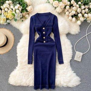 Платье осенне-зимнее новое,  v-образный вырез темно-синие