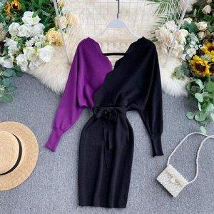 Вязаное платье фиолетово-черное