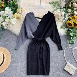 Вязаное платье серо-черное