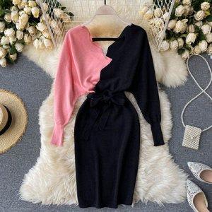 Вязаное платье розово-черное