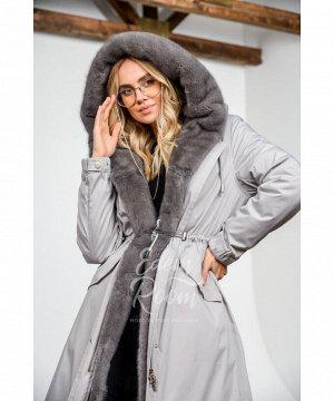 Парка - пальто с капюшоном из норкиАртикул: MD-1908-115-SR-N