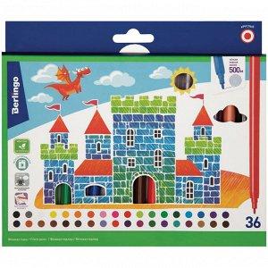 """Фломастеры Berlingo """"Замки"""", 36цв., смываемые, картон, европодвес"""