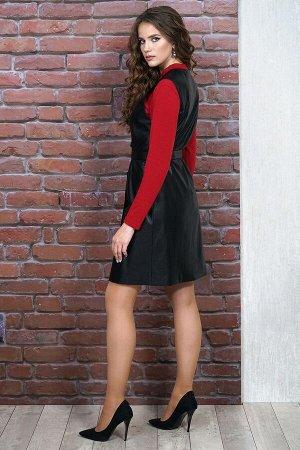 Сарафан, лонгслив Alani Collection 1263 черный/красный