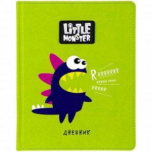 "Дневник 1-11 кл. 48л. (твердый) ""Little monster. Green"", иск.кожа, ПВХ-аппликация тон. блок, ляссе"