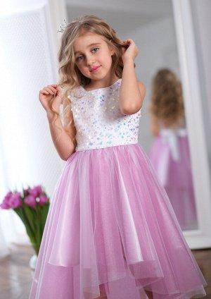 Леди нарядное платье цикламен