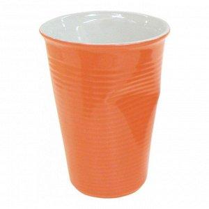 Мятый стаканчик керамический оранжевый 0,24л, оранжевый