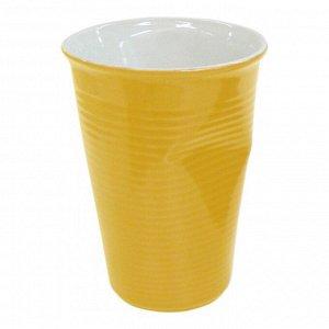 Мятый стаканчик керамический желтый 0,24л, желтый