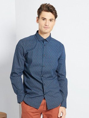Облегающая рубашка из поплина в полоску и горошек