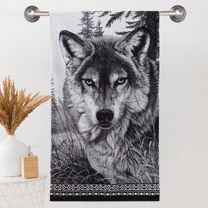 Полотенце махровое Этель ЧБ «Волк», пестроткань, 70х130 см