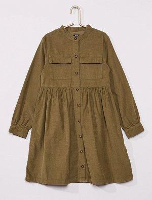 Платье-рубашка из вельвета