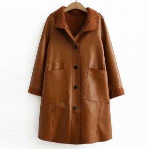 """Пальто """"под овчину"""", коричневый"""