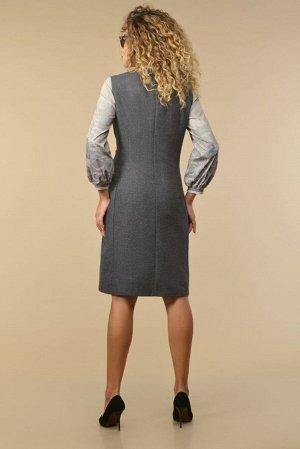 Сарафан Сарафан Сч@стье 7135 серый  Состав ткани: Вискоза-34%; ПЭ-64%; Эластан-2%;  Рост: 170 см.  Платье-сарафан женское из текстильной ткани на подкладке. Застежка – имитация запаха на 1 пуго
