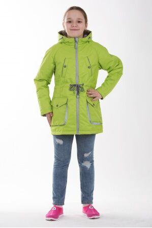 Детская куртка-парка для девочки весна/осень КМ-005 (лайм)