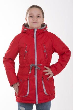 Детская куртка-парка для девочки весна/осень КМ-005 (красный)