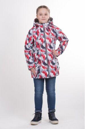 Детская удлиненная куртка с принтом для девочки весна/осень КМ-003 (красный)