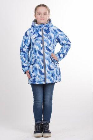 Детская удлиненная куртка с принтом для девочки весна/осень КМ-003 (голубой)