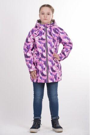 Детская удлиненная куртка с принтом для девочки весна/осень КМ-003 (фиолет)