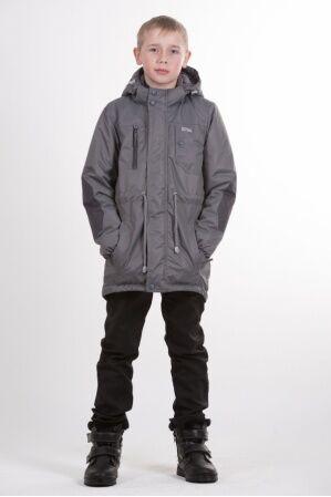 Детская куртка-парка для мальчика весна/осень КМ-002 (темно-серый)