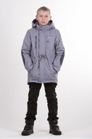 Детская куртка-парка для мальчика весна/осень КМ-002 (серый)