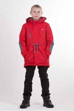 Детская куртка-парка для мальчика весна/осень КМ-002 (красный)