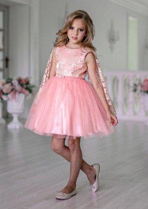 Платье Состав: верх 100% полиэстер, подклад 100% хлопок Модель платья из однотонной атласной ткани. Платье комбинированное, с верхним слоем из сетки-золото по лифу и  юбкой из однотонной сетки. Накидк