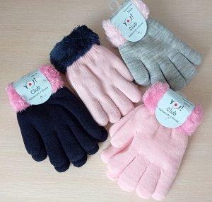 Перчатки акриловые утепленные мехом