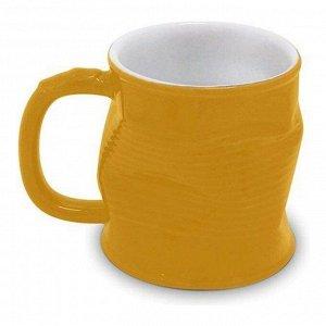 Мятая кружка керамическая 0.32л желтая, желтый