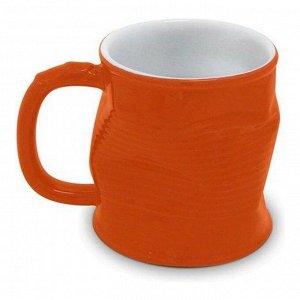 Мятая кружка керамическая 0.32л оранжевая, оранжевый