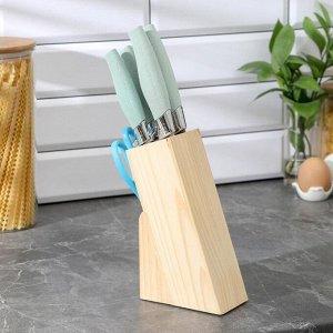 Набор кухонный, 6 предметов: 5 ножей 8,5 см, 12 см, 12 см, 19,7 см, 19 см, ножницы, цвет голубой