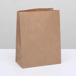 Пакет крафт бумажный фасовочный, прямоугольное дно 22 х 12 х 29 см