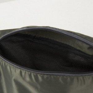 Сумка поясная, отдел на молнии, наружный карман, цвет зелёный