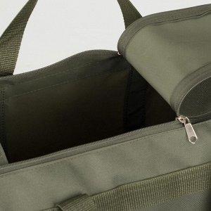 Сумка спортивная на молнии, 1 отдел, 3 наружных кармана, длинный ремень, цвет хаки