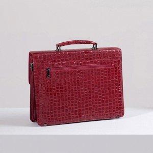 Портфель, 5 отделов на клапане, 3 наружных кармана, длинный ремень, цвет тёмно-красный