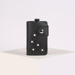 Ключница, 2 отдела, 7 карабинов, на кнопке, цвет чёрный