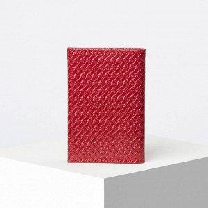 Визитница вертикальная, 1 ряд, 18 листов, плетёнка, цвет красный