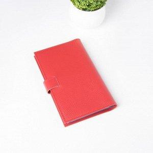 Визитница на кнопке, 3 ряда, 24 листа, флотер, цвет красный