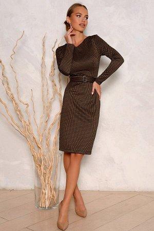 Платье Размер: 44 Современный фасон платья из новой коллекции! Осенняя расцветка в коричневом  изысканном тоне отлично впишется в Ваш гардероб. Мелкая клетка очень стильный и модный принт для любо