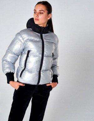 Куртка утепленная женская (серебро/черный)