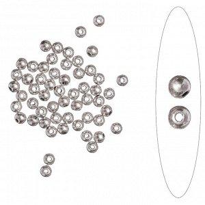 Бусина металлическая, 4мм, гладкая, тибетское серебро