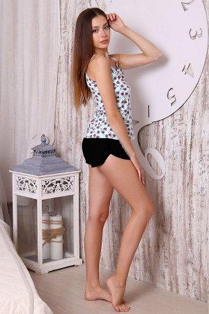 Пижама Бренд: Натали. Ткань: кулирка, кулирка с лайкрой  Состав: хлопок 100%; хлопок 92%, лайкра 8%  Пижама женская (шорты и топ). Топ данной модели выполнен из эластичного трикотажного полотна кулирк